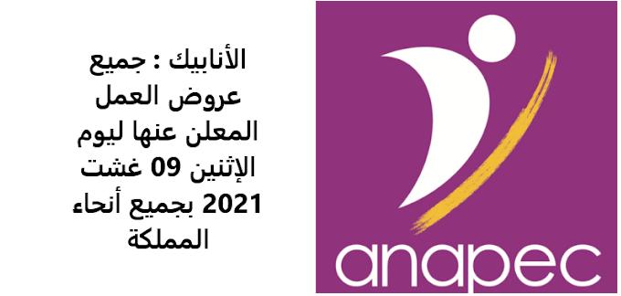 الأنابيك : جميع عروض العمل المعلن عنها ليوم الإثنين 09 غشت 2021 بجميع أنحاء المملكة توظيف مجموعة من المناصب